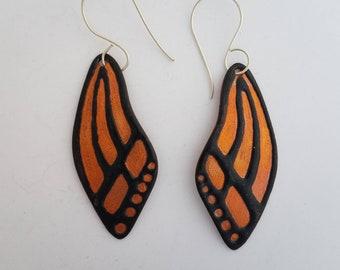 Butterfly Wing Earrings Black Enamel on solid copper with Sterling Silver ear wires
