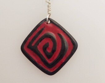 Aspire Pendant Dark Red & Black Glass Enamel on Copper with a Silver Wire Bail and Chain