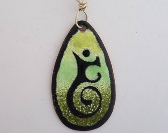 Aspire Pendant Ombre Greens and Black Glass Enamel on Copper with Silver Wire Bail and Chain