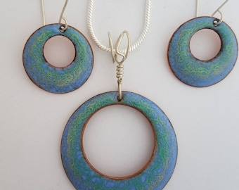 Periwinkle and greens vitreous (glass) enamel hoop pendant set sterling silver 20 inch chain with Sterling ear wires.