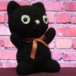 Amigurumi crochet black cat, stuffed black cat, Halloween cat