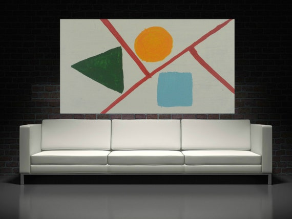 Modern Geometric Abstract Painting Shapes Minimalist Abstract Painting Triangle Paintings Canvas Or Wood Original Painting Contemporary