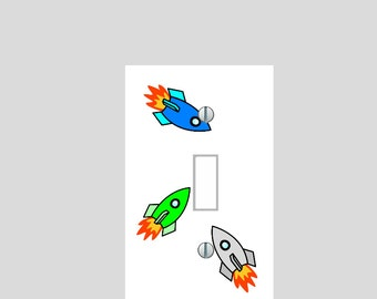 light switch plate cover rocket space ship pattern