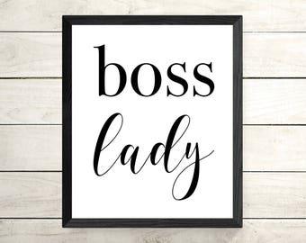 Boss Lady Framed Print - Framed Wall Art - Quote Print - Motivational Framed Poster- Inspirational Print - Minimalist Art - Typography Print