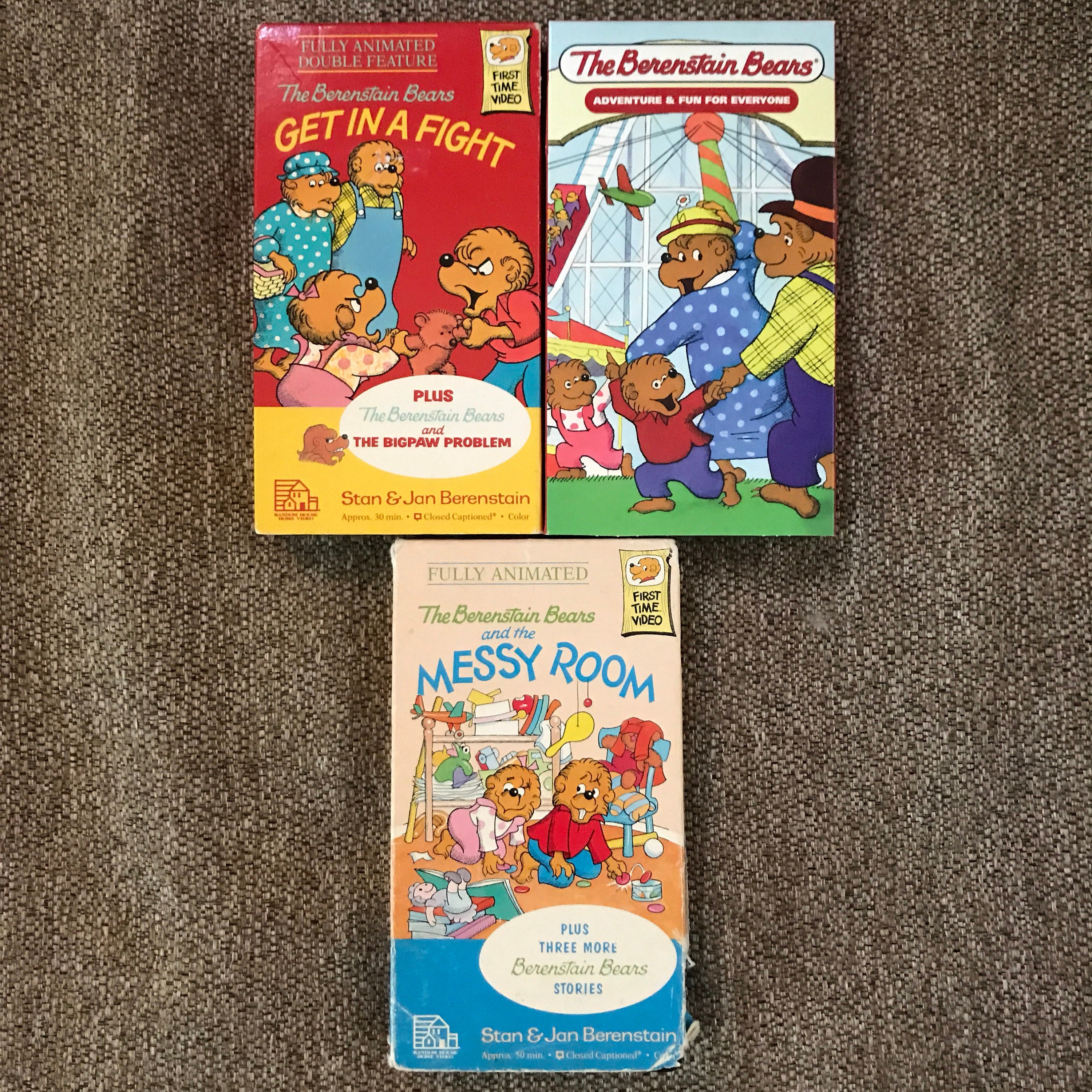 Lot 3 Vintage Berenstain Bears VHS Movie Tapes Shows