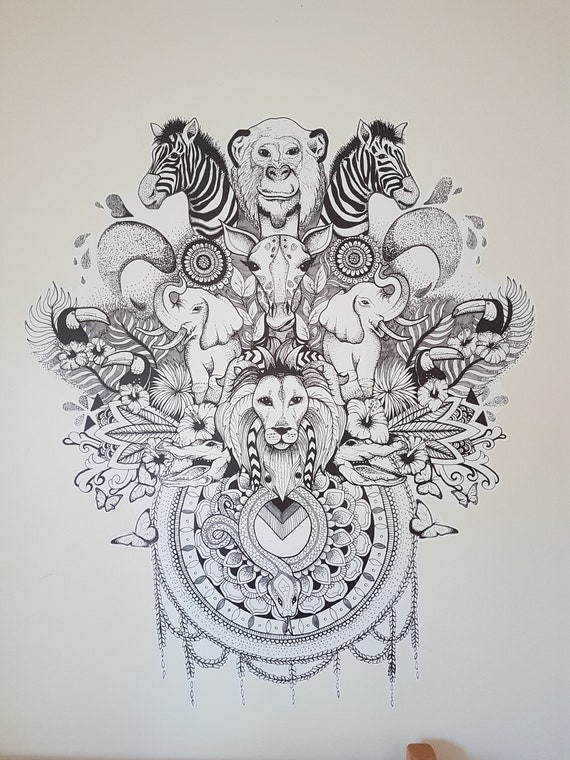 Peler Et Coller Le Sticker Mural Contour En Noir Et Blanc Jungle