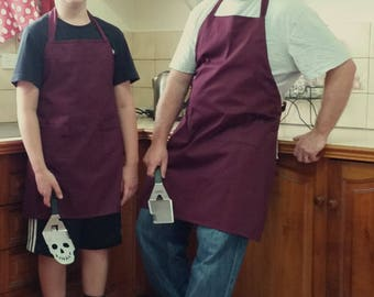 Matching Parent / Child Aprons with Trendy Personalized slogans in Burgendy