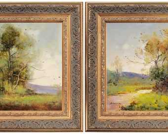 A Pair, Ornate Gold Framed Oil Painting, French Scenery, Signed by J Reneau, Impressionism Landscape on Canvas, For Memorable Gift