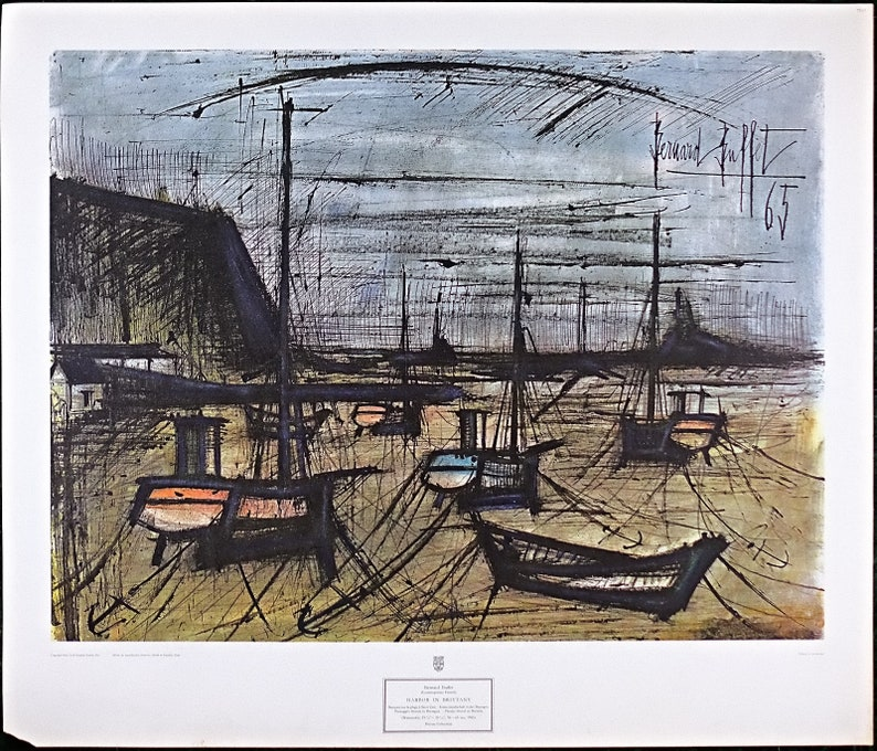 Bernard Buffet Lithograph 'Harbor in Brittany' New York Graphic Society,  David et Garnier Paris, Vintage Print