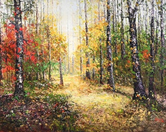 """Heavy Texture Wall Art Painting, Autumn Forest Road Scene Landscape, Topaz Signed Original Oil Painting on Canvas 72"""" x 48"""""""