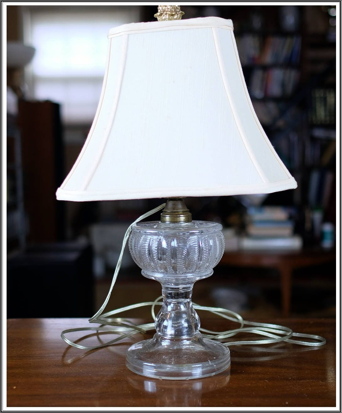vintage clear glass pressed base table lamp with shade etsy. Black Bedroom Furniture Sets. Home Design Ideas