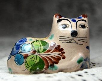 Vintage Mexican Folk Art Cat. Mexican Folk Art. Tonala Mexico Pottery. Mexican Cat. Southwestern Art. Hand Painted Cat. #161111