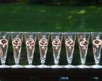 Mid-Century ATOMIC STARBURST Glasses | Pilsner Beer Glasses | MOD Federal Glass Amoeba Flute Footed Glasses | Starburst Toasting Glasses |