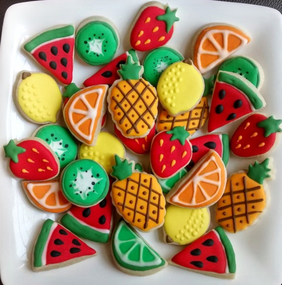 Fruits Mini Sugar Cookies Or Large 3 5 With Royal Icing Etsy
