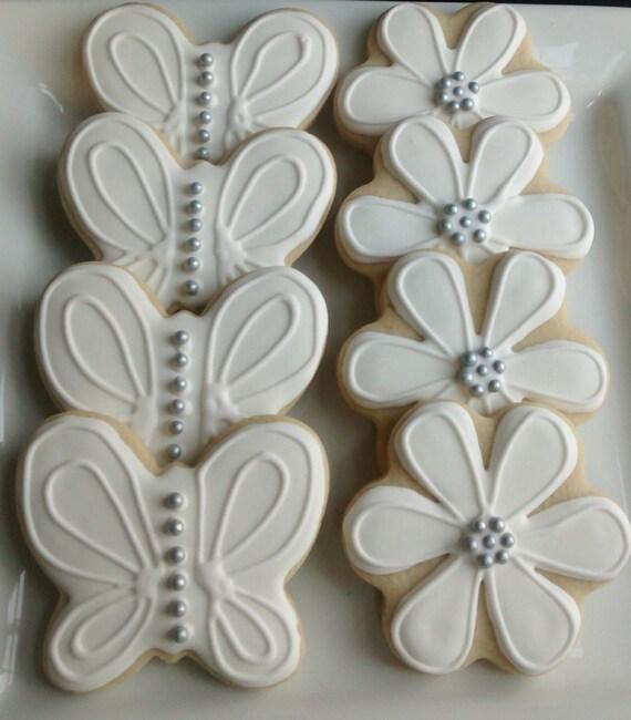 Boda De Mariposas Y Flores De Azúcar Galletas Decoradas Con Glaseado Real