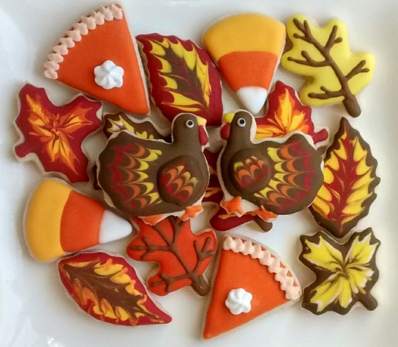 Thanksgiving Themed Decorated Sugar Cookies