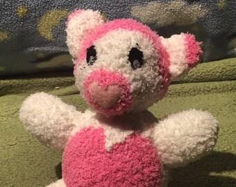 Polar Teddy Bear with Pink Stomach