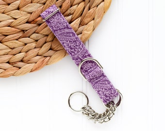 NEW! 2021 Purple Paisley Collar - Female Dog Collar - Martingale Chain Dog Collar - Dog Collar - Check Chain Collar