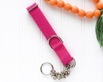 NEW! 2021 Hot Pink Polka Dot Dog Collar - Female Dog Collar - Martingale Chain Dog Collar - Dog Collar - Check Chain Collar