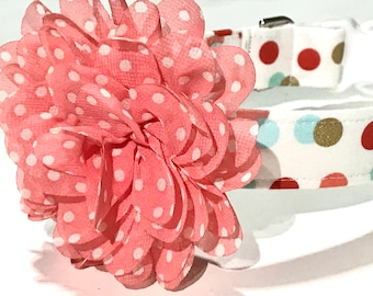 Party Dot Dog Collar - Coral Dog Collar with Flower - Girl Dog Collar - Dog Collar for Girls - Pet Accessories