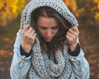 Hooded and infinity scarf/Oversized scarf/Choice of colors/The Milton scarf