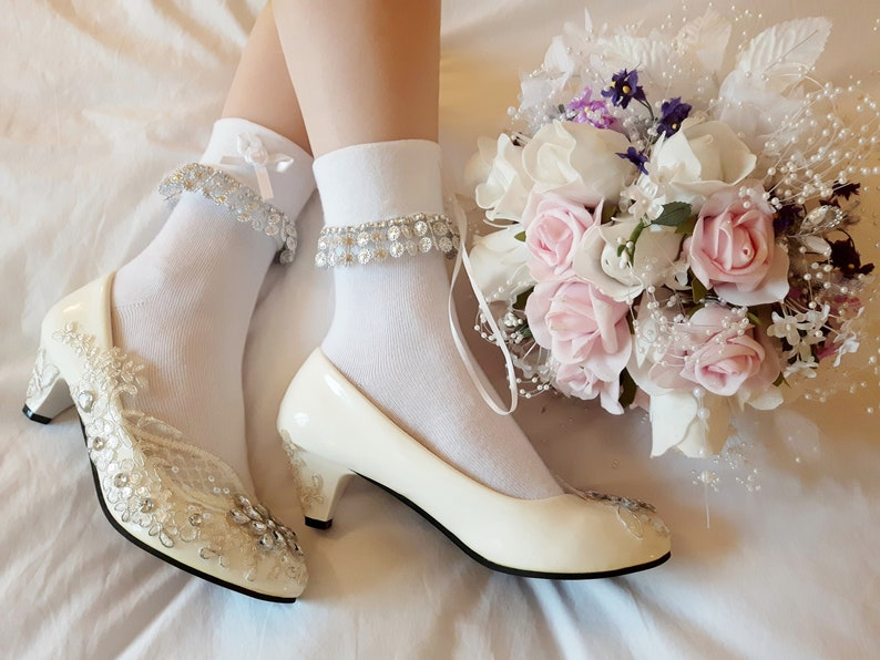 Diamond /& Snow White Lolita Bridal Beaded And Lace Trim Ankle SocksFairyBridesmaids50/'sFall Winter WeddingsEthereal1 Size Fits All