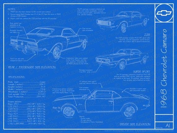 1968 chevrolet camaro blueprint poster 18x24 jpeg etsy image 0 malvernweather Gallery