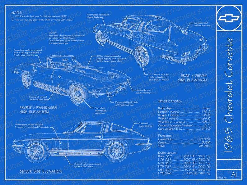 1965 Chevrolet Corvette blueprint poster 18