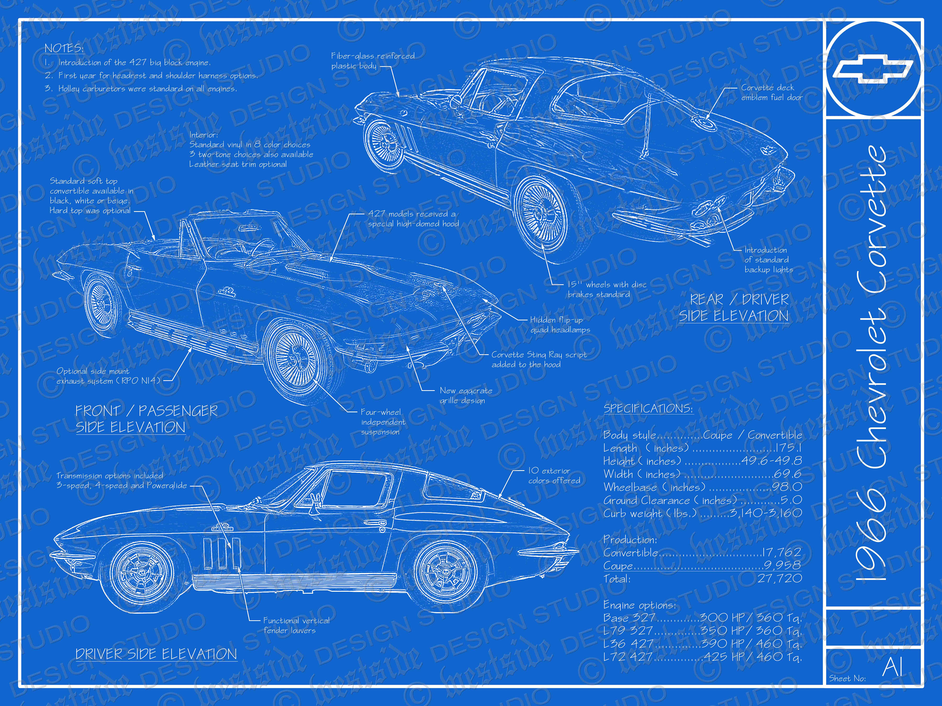 1966 Chevrolet Corvette blueprint poster 18