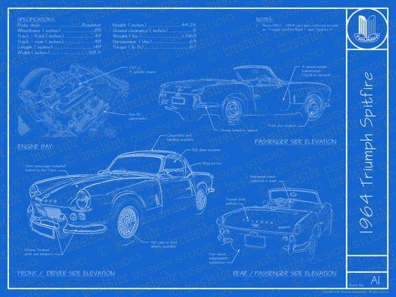 1964 Triumph Spitfire Blueprint Poster 18x24 Jpeg