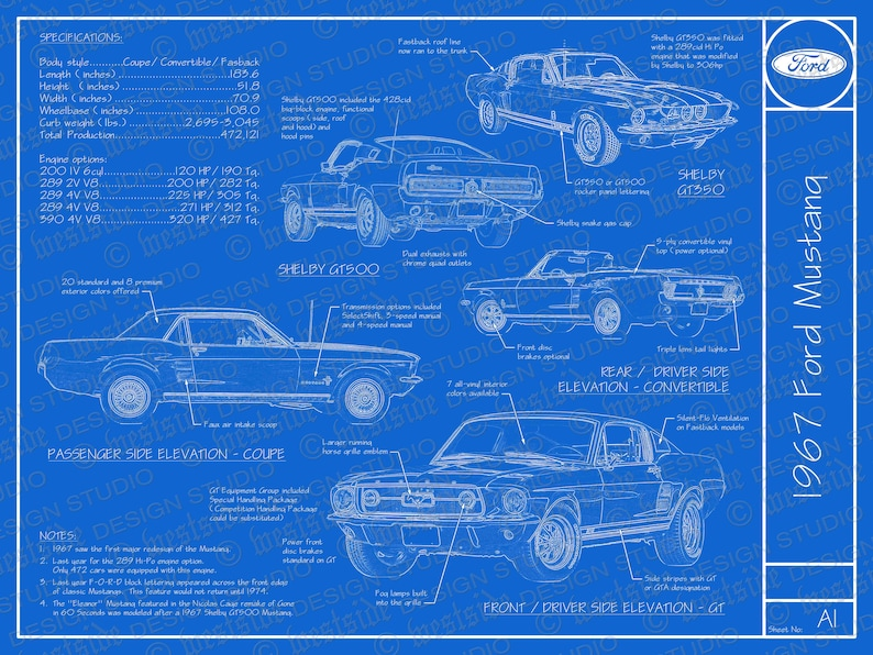 1967 Ford Mustang blueprint poster 18