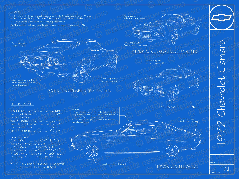 1972 Chevrolet Camaro blueprint poster 18