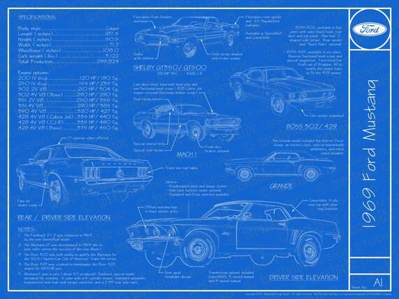 Delightful 1969 Ford Mustang Blueprint Poster 18x24 JPEG