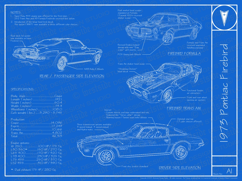 1973 Pontiac Firebird Trans Am Blueprint Poster Etsy 1998 Specs 50