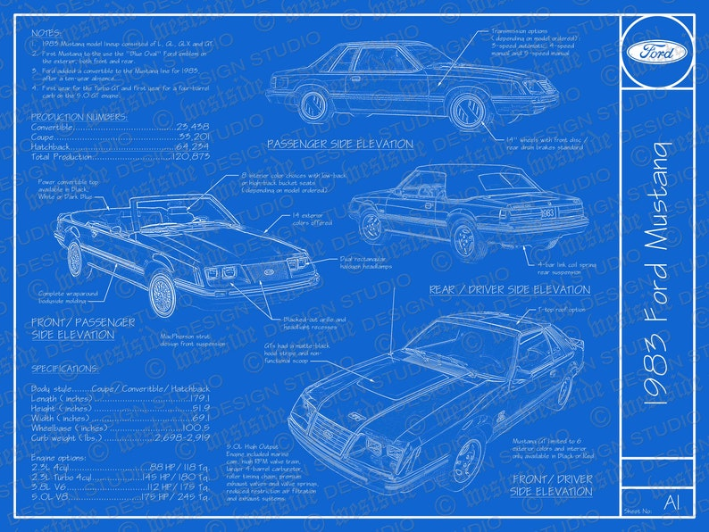 1983 Ford Mustang blueprint poster 18