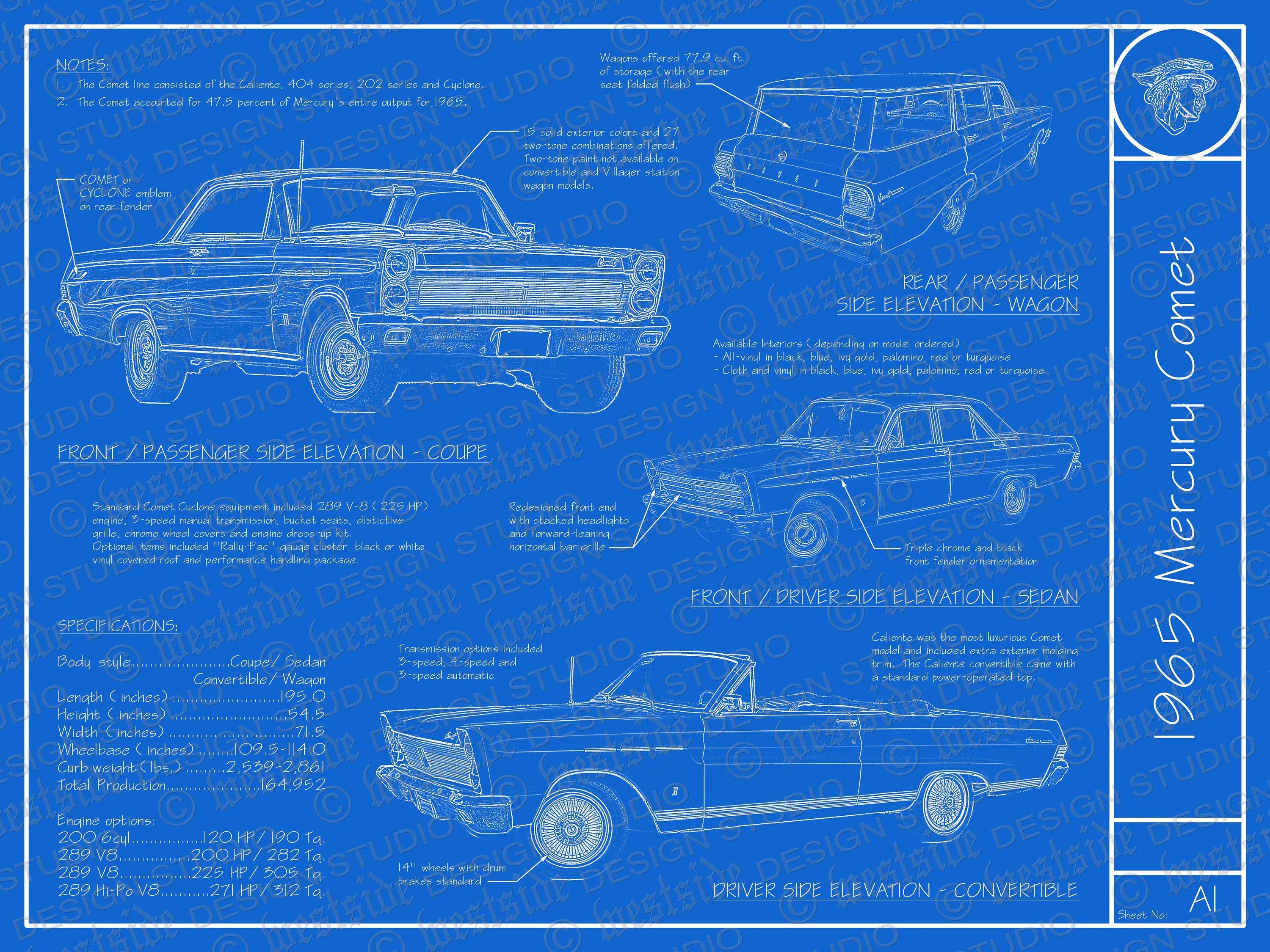 1965 Mercury Comet blueprint poster 18