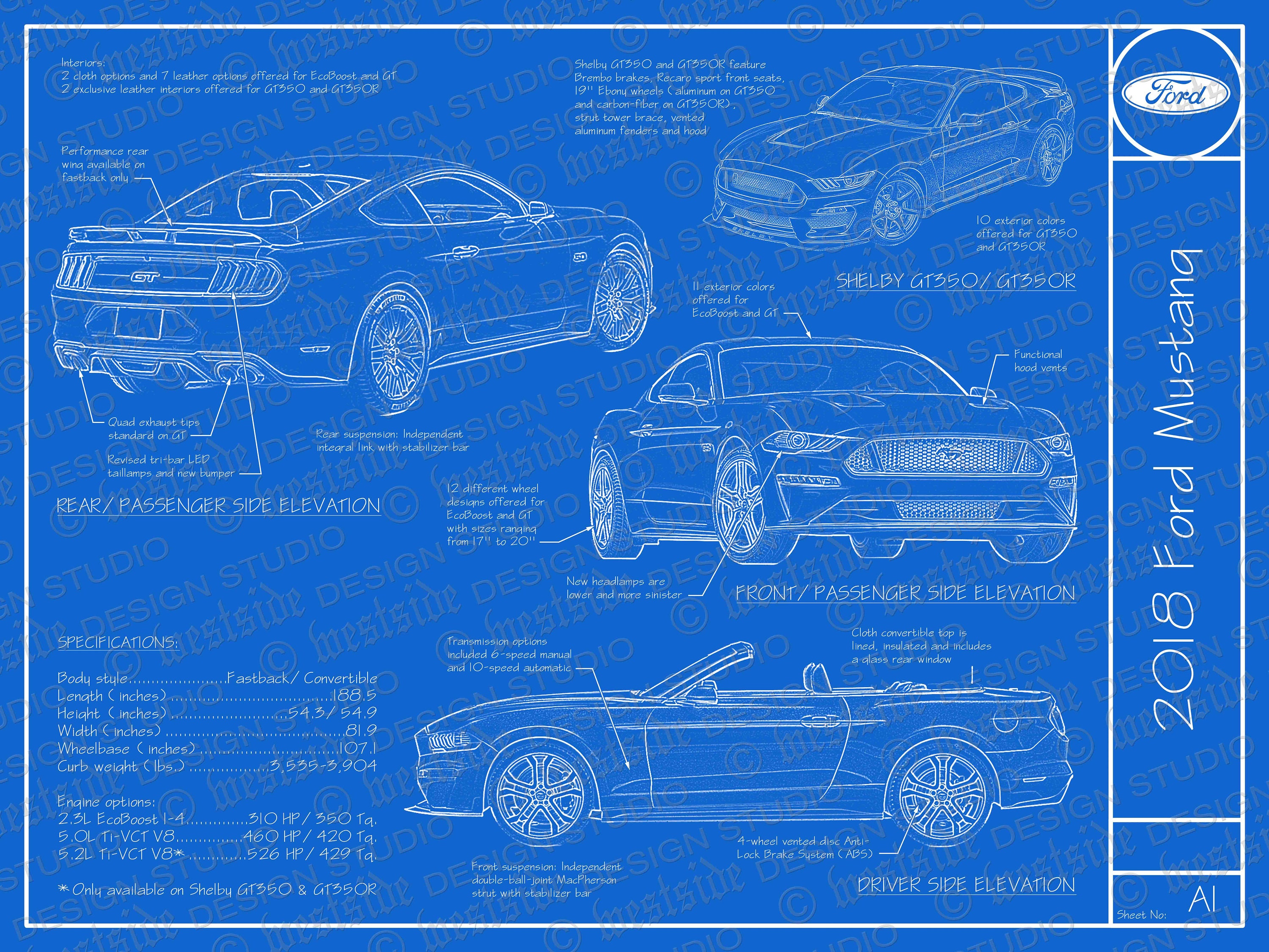 2018 ford mustang blueprint poster 18x24 jpeg image file