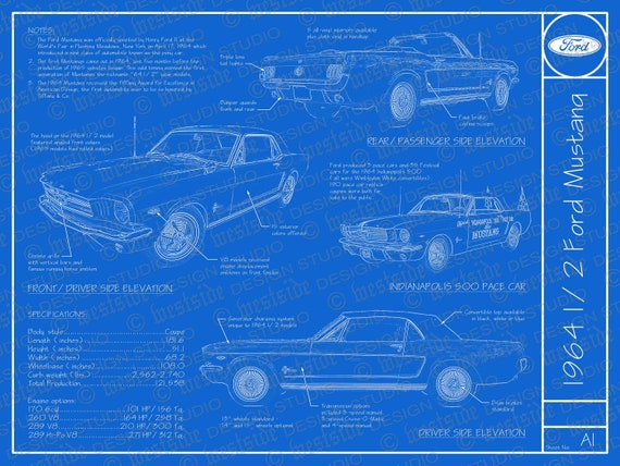 1964 1/2 Ford Mustang Blueprint Poster 18x24 JPEG
