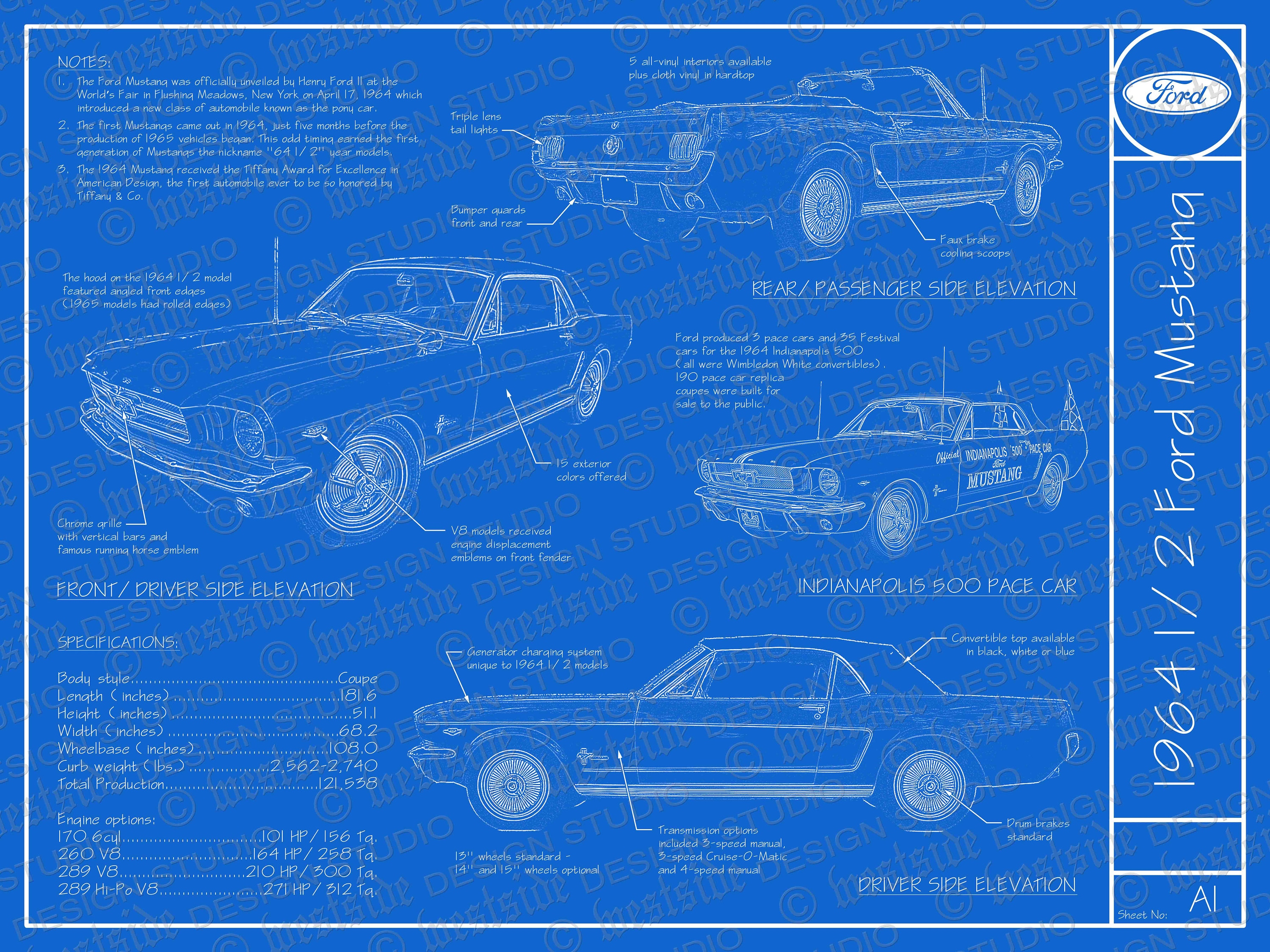 1964 1 2 Ford Mustang Blueprint Poster 18x24 Jpeg Etsy Paint Colors 50