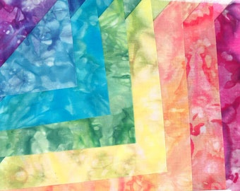 8 colors Rainbow Color Collection Hand Dyed 20 X 20 Inches by Stacy Michell For Shades Textiles #42610