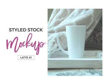 Download Free Styled stock mockup mug white tapered dollar tree latte mug for silhouette and cricut product mockups - Latte #1 PSD Template