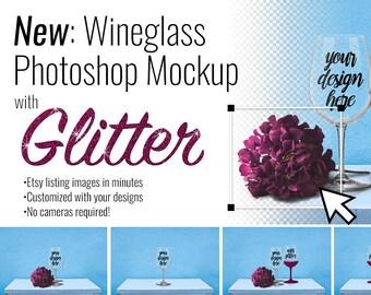 Download Free Wineglass Photoshop Mockup Creator PSD Template