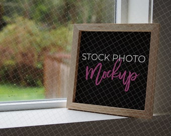 photo regarding Printable Glassware identify Organic wooden indicator with black internal picket mockup inside