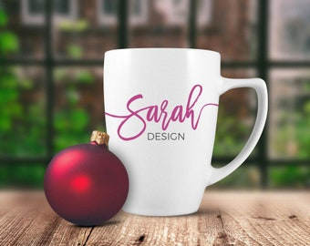 Download Free JPEG Mockup | Christmas Mug Mockup | 12oz White Dollar Tree Mug Mockup | Red Ornament | Garden Window PSD Template