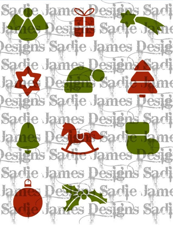 Christmas Holiday Icons Svg And Silhouette Studio Cutting Etsy