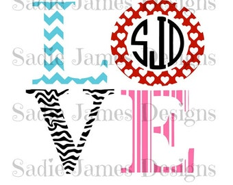 Love monogram frame SVG and Silhouette Studio cutting file, Instant Download