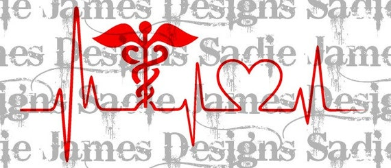 Medical Caduceus Love Heartbeat Ekg Svg And Silhouette Studio Etsy
