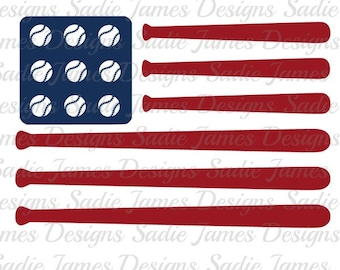 Baseball American Flag SVG, EPS and Silhouette Studio cutting file, Instant Download