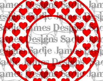 Valentine's Heart Monogram Frame SVG and Silhouette Studio cutting file, Instant Download