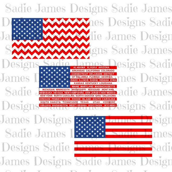American Flags SVG and Silhouette Studio cutting file, Instant Download